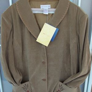 Susan Graver Style Medium Wt Embroidered Jacket 3X
